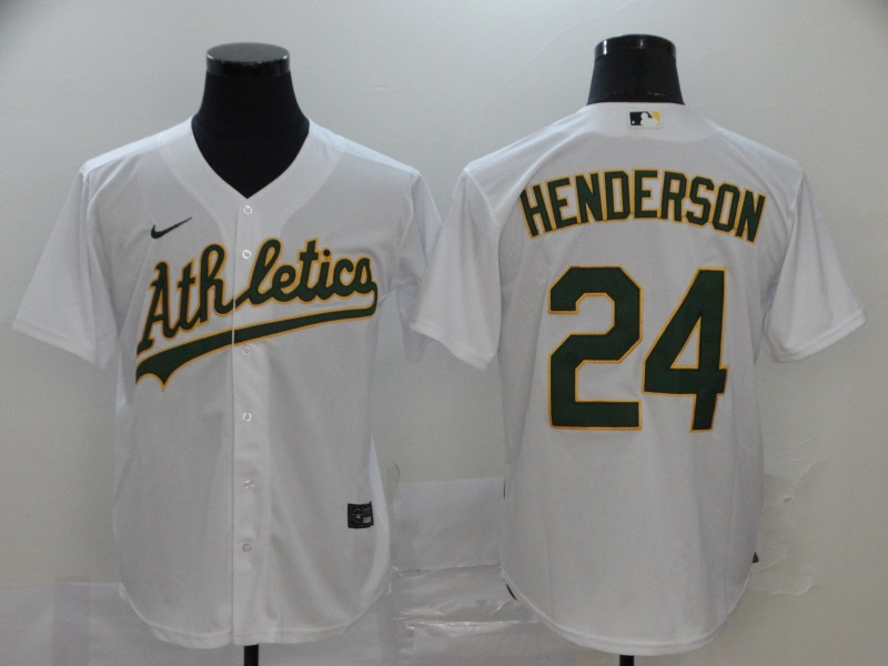 Men's Oakland Athletics #24 Rickey Henderson White Stitched MLB Cool Base Nike Jersey