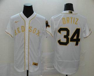 Men's Boston Red Sox #34 David Ortiz White With Gold Stitched MLB Flex Base Nike Jersey