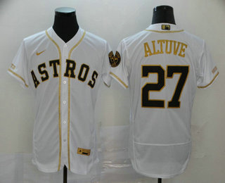 Men's Houston Astros #27 Jose Altuve White With Gold Stitched MLB Flex Base Nike Jersey