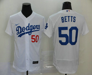 Men's Los Angeles Dodgers #50 Mookie Betts White Stitched MLB Flex Base Nike Jersey