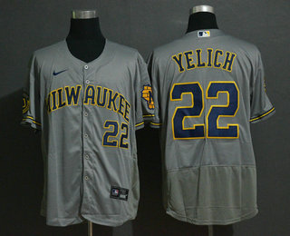 Men's Milwaukee Brewers #22 Christian Yelich Grey Stitched MLB Flex Base Nike Jersey