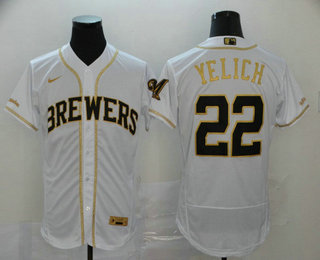 Men's Milwaukee Brewers #22 Christian Yelich White With Gold Stitched MLB Flex Base Nike Jersey