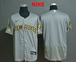 Men's Milwaukee Brewers Blank Grey Stitched MLB Flex Base Nike Jersey