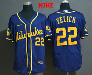 Men's Milwaukee Brewers #22 Christian Yelich Light Blue Stitched MLB Flex Base Nike Jersey
