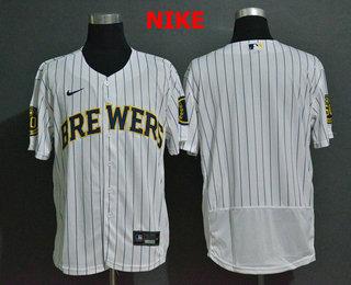 Men's Milwaukee Brewers Blank White Stitched MLB Flex Base Nike Jersey