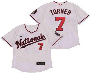 Men's Washington Nationals #7 Trea Turner White Stitched MLB Flex Base Nike Jersey