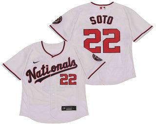 Men's Washington Nationals #22 Juan Soto White Stitched MLB Flex Base Nike Jersey