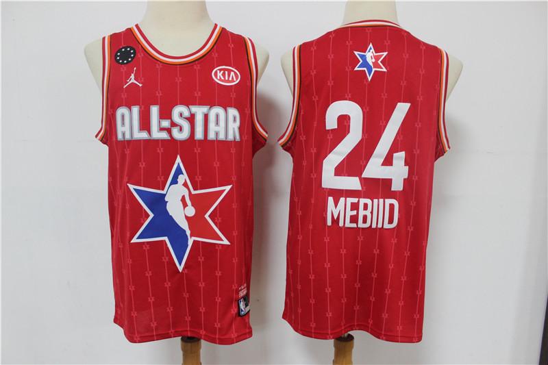 Men's Philadelphia 76ers #24 Joel Embiid Red Jordan Brand 2020 All-Star Game Swingman Stitched NBA Jersey