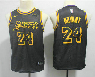 Youth Los Angeles Lakers #24 Kobe Bryant Black 2017-18 Nike City Edition Swingman Jersey