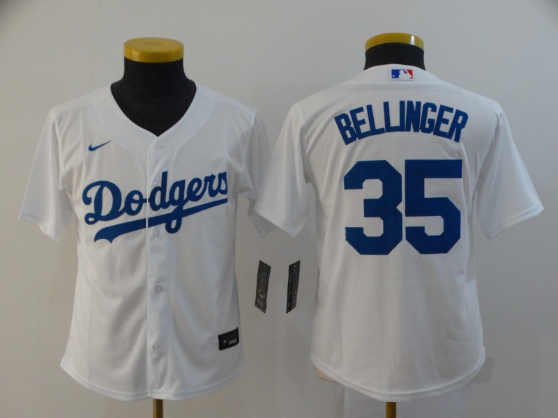 Youth Los Angeles Dodgers #35 Cody Bellinger White Stitched MLB Cool Base Nike Jersey