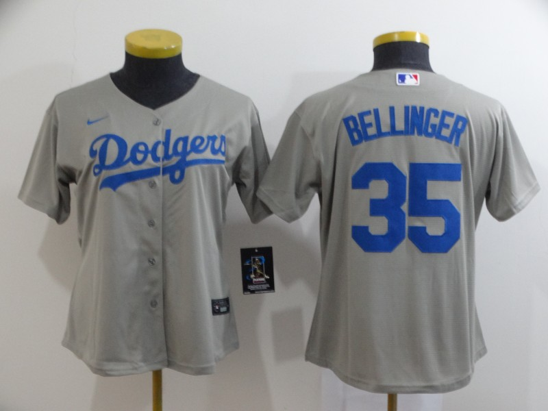 Youth Los Angeles Dodgers #35 Cody Bellinger Gray Stitched MLB Cool Base Nike Jersey