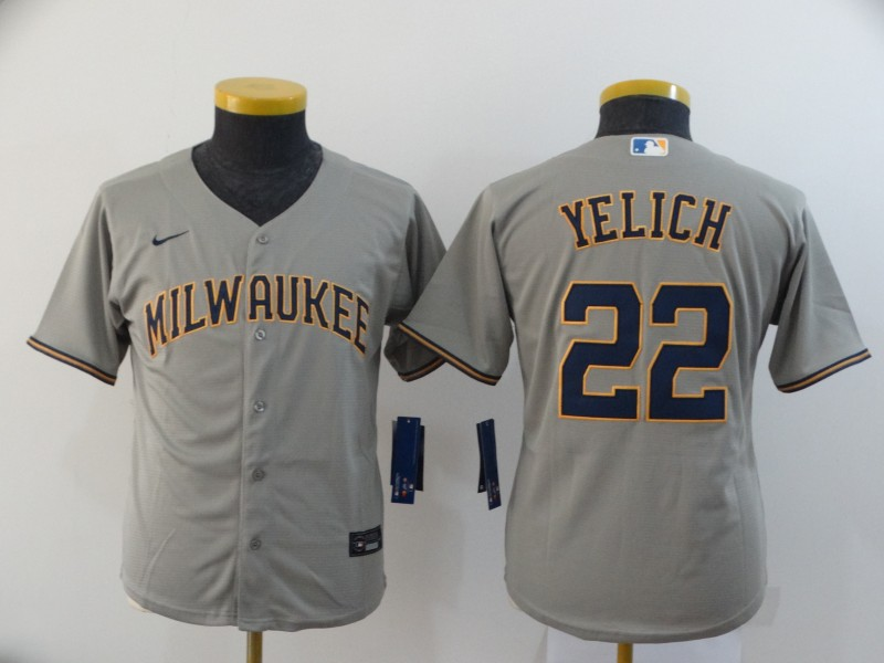 Youth Milwaukee Brewers #22 Christian Yelich Gray Stitched MLB Cool Base Nike Jersey