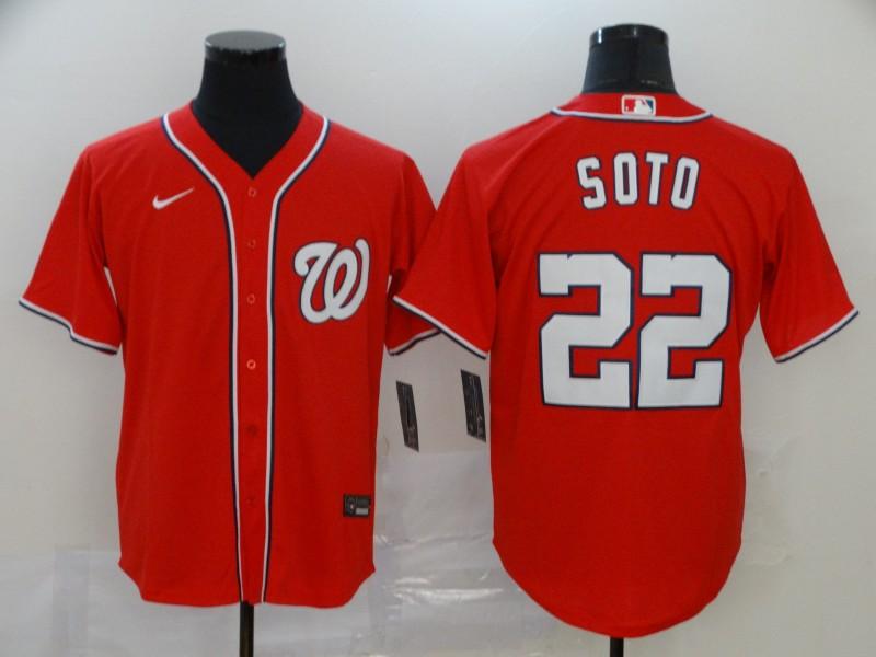 Men's Washington Nationals #22 Juan Soto Red Stitched MLB Cool Base Nike Jersey