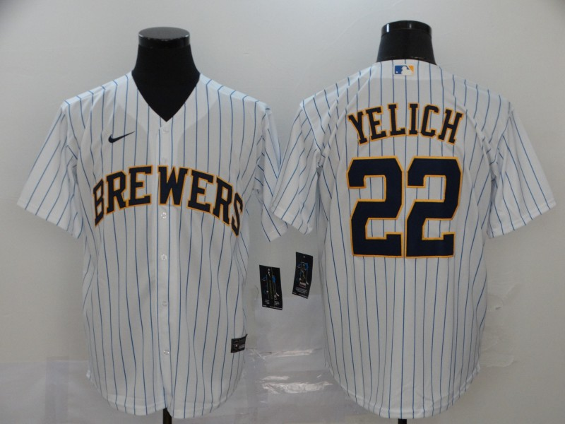 Men's Milwaukee Brewers #22 Christian Yelich White Stitched MLB Cool Base Nike Jersey