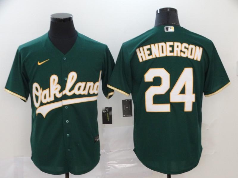 Men's Oakland Athletics #24 Rickey Henderson Green Stitched MLB Cool Base Nike Jersey