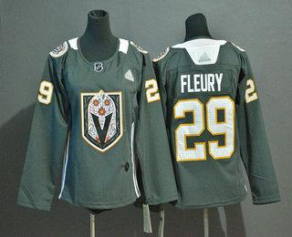 Women's Vegas Golden Knights #29 Marc-Andre Fleury Gray Dia De Los Muertos Adidas Jersey