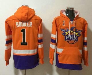 Men's Phoenix Suns #1 Devin Booker NEW Orange Pocket Stitched NBA Pullover Hoodie