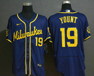 Men's Milwaukee Brewers #19 Robin Yount Navy Blue Stitched MLB Flex Base Nike Jersey
