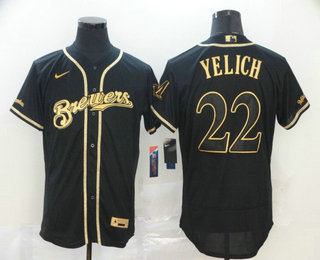 Men's Milwaukee Brewers #22 Christian Yelich Black Golden Stitched MLB Flex Base Nike Jersey