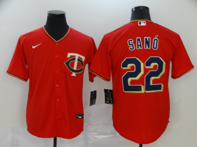 Men's Minnesota Twins #22 Miguel Sano Red Stitched MLB Cool Base Nike Jersey