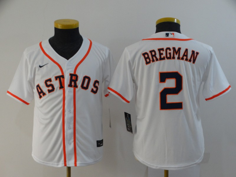 Youth Houston Astros #2 Alex Bregman White Stitched MLB Cool Base Nike Jersey