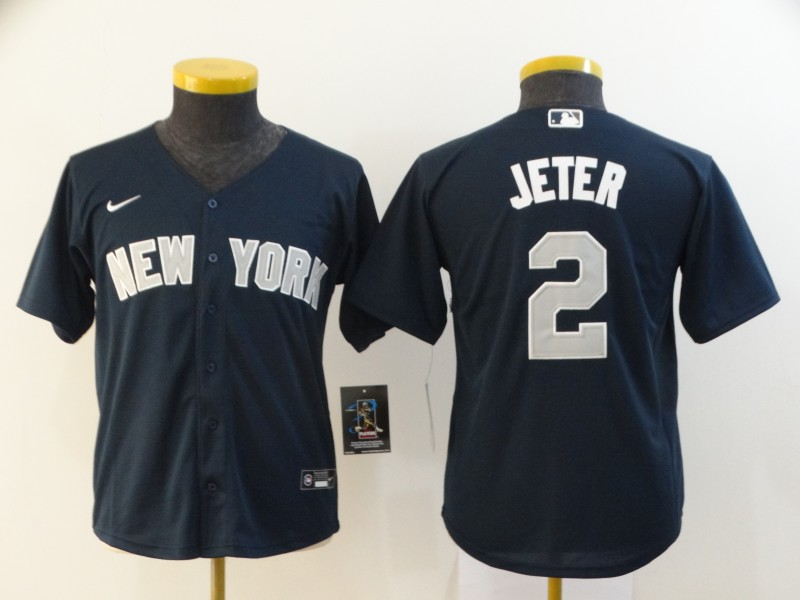 Youth New York Yankees #2 Derek Jeter Navy Blue Stitched MLB Cool Base Nike Jersey