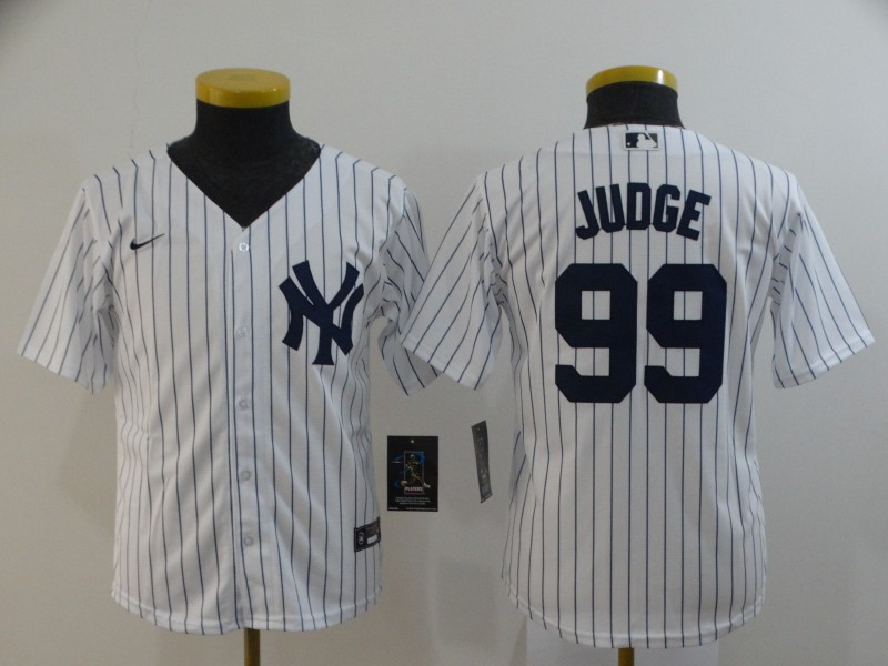 Youth New York Yankees #99 Aaron Judge White Home Stitched MLB Cool Base Nike Jersey