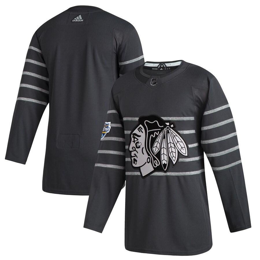 Men's Chicago Blackhawks Blank Gray 2020 NHL All-Star Game Adidas Jersey