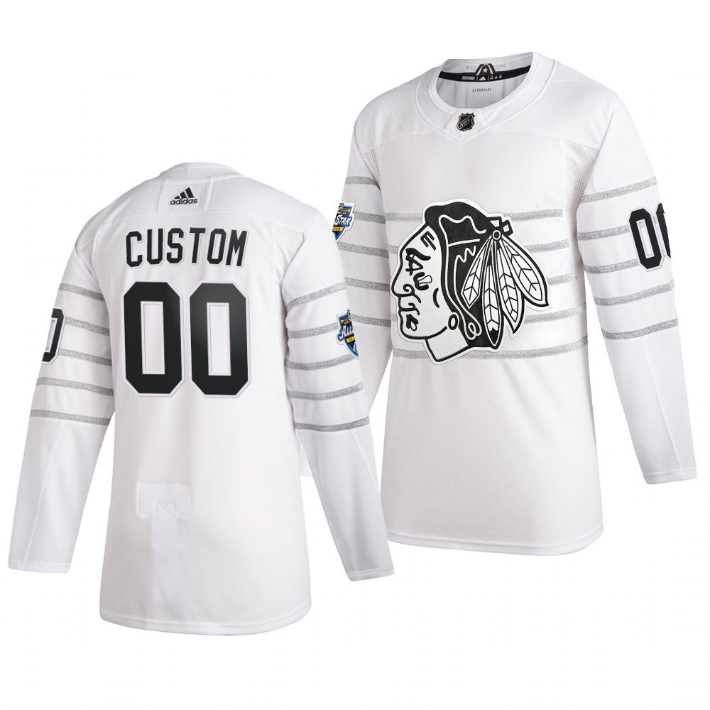 Men's 2020 NHL All-Star Game Chicago Blackhawks Custom Authentic adidas White Jersey