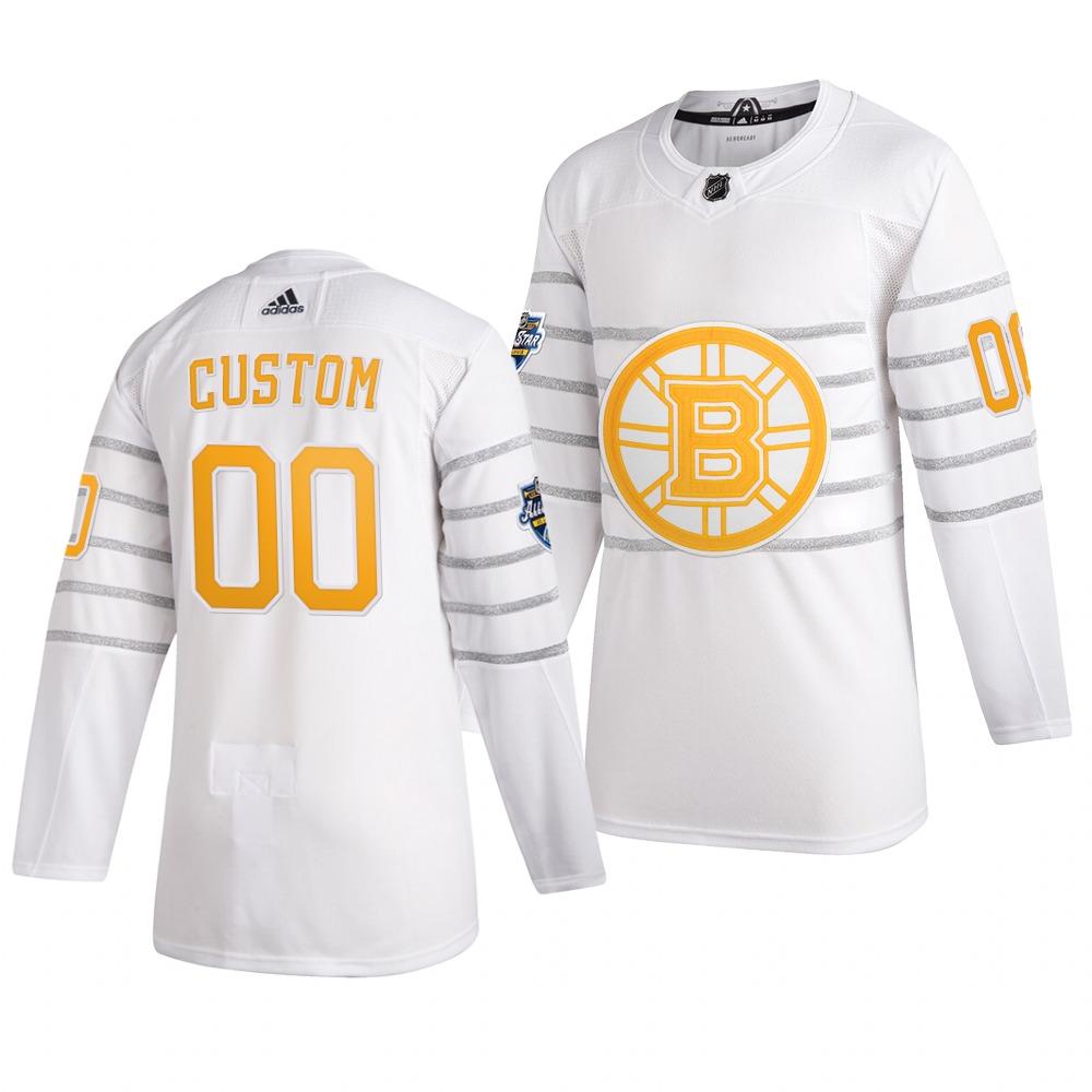 Men's 2020 NHL All-Star Game Boston Bruins Custom Authentic adidas White Jersey