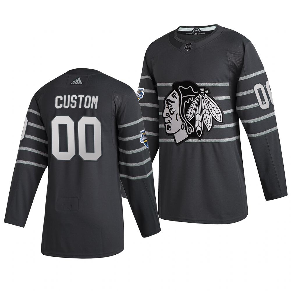 Men's 2020 NHL All-Star Game Chicago Blackhawks Custom Authentic adidas Gray Jersey
