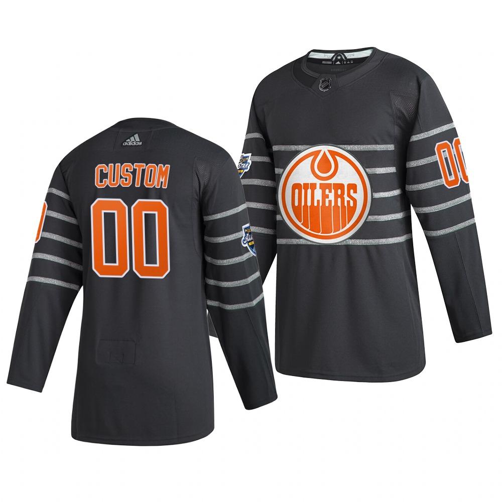 Men's 2020 NHL All-Star Game Edmonton Oilers Custom Authentic adidas Gray Jersey