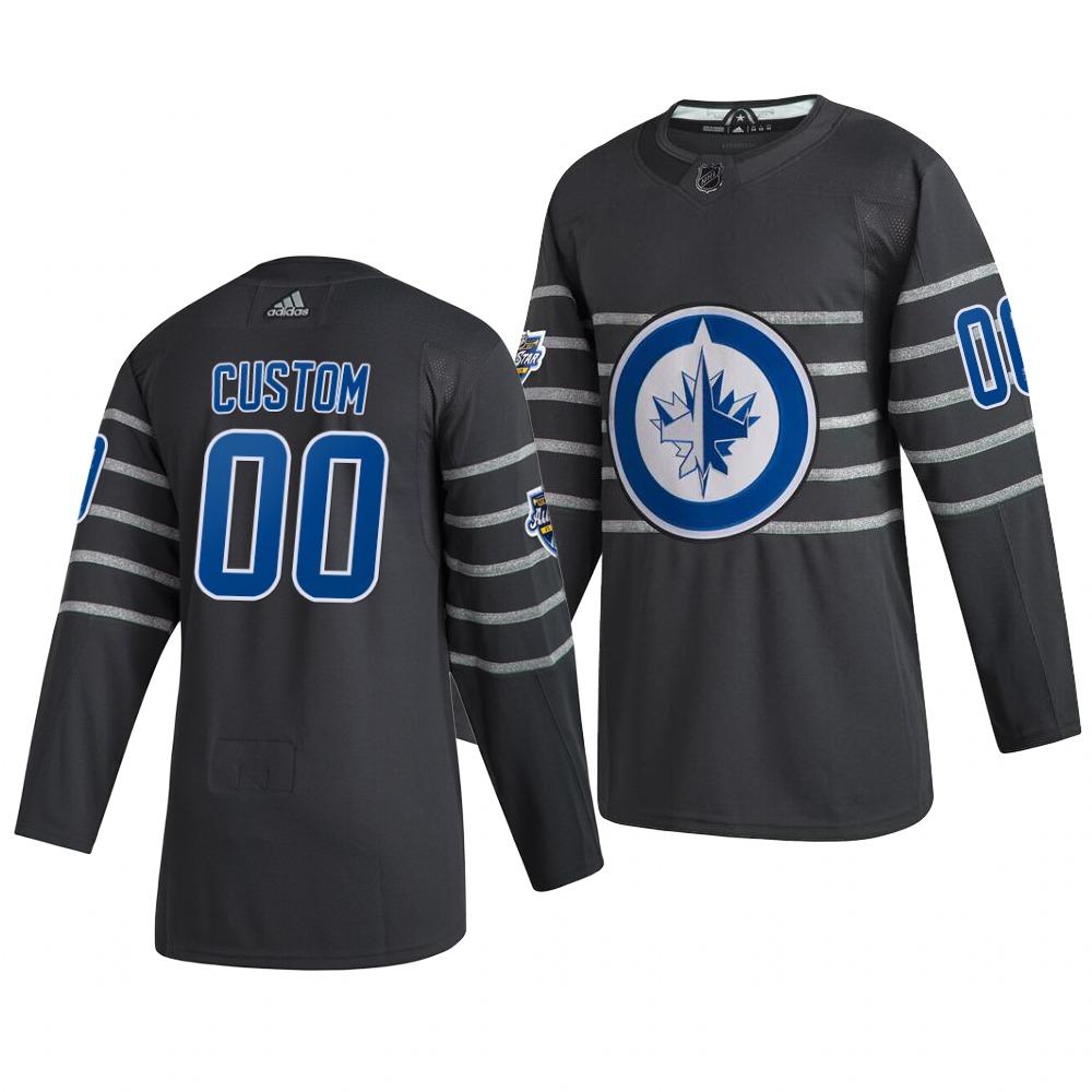 Men's 2020 NHL All-Star Game Winnipeg Jets Custom Authentic adidas Gray Jersey