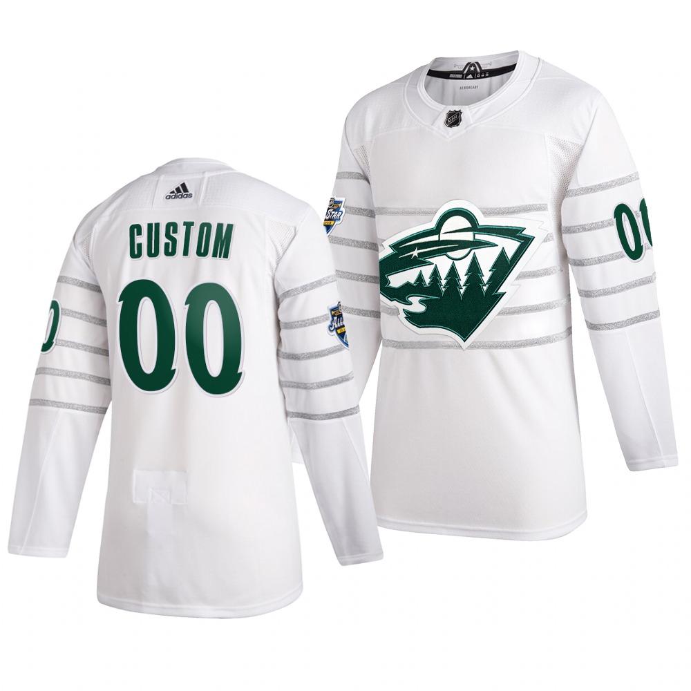 Men's 2020 NHL All-Star Game Minnesota Wild Custom Authentic adidas White Jersey