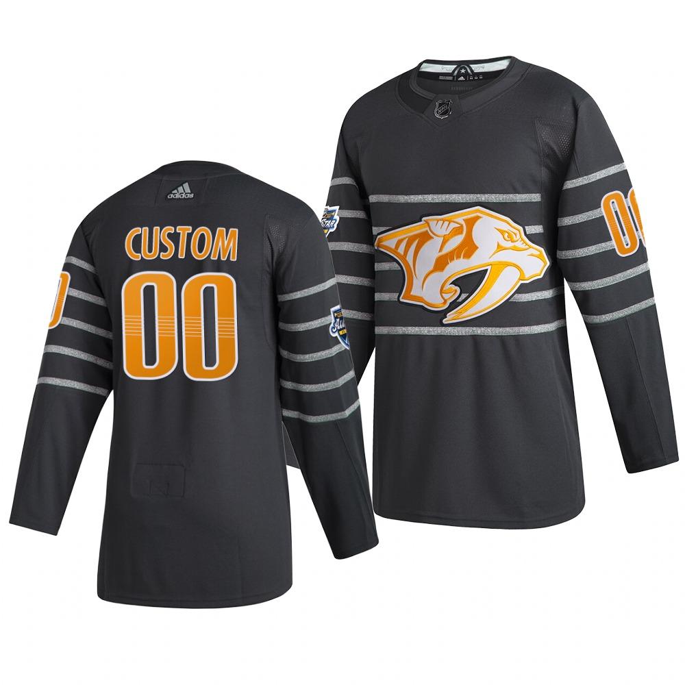 Men's 2020 NHL All-Star Game Nashville Predators Custom Authentic adidas Gray Jersey