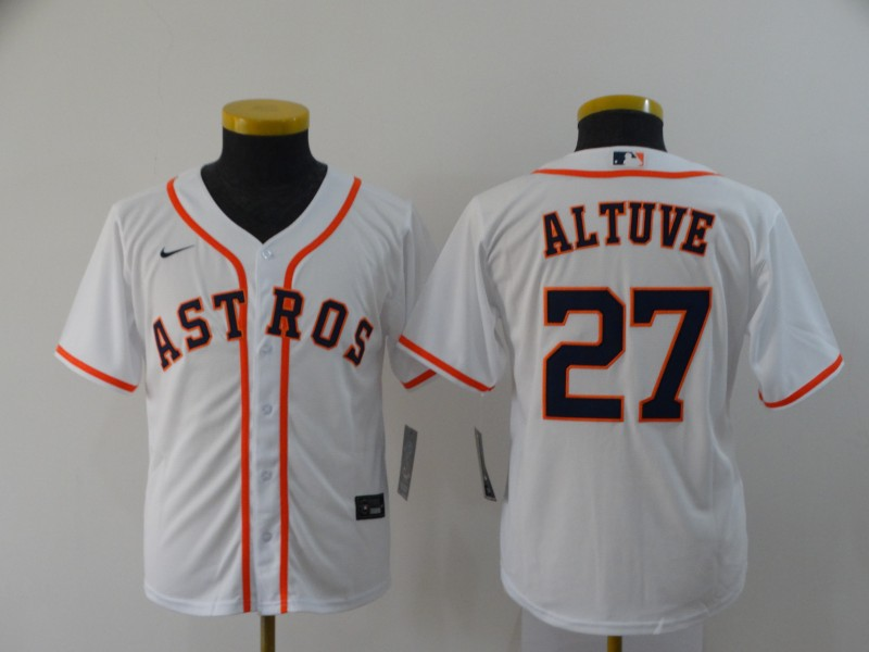 Youth Houston Astros #27 Jose Altuve White Stitched MLB Cool Base Nike Jersey