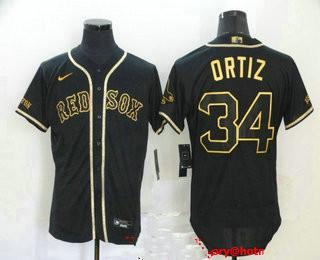 Men's Boston Red Sox #34 David Ortiz Black With Gold Stitched MLB Flex Base Nike Jersey