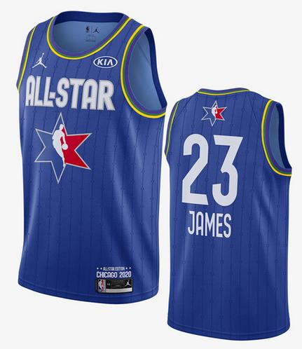 Men's Los Angeles Lakers #23 LeBron James Blue Jordan Brand 2020 All-Star Game Swingman Stitched NBA Jersey