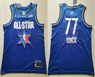 Men's Dallas Mavericks #77 Luka Doncic Blue Jordan Brand 2020 All-Star Game Swingman Stitched NBA Jersey