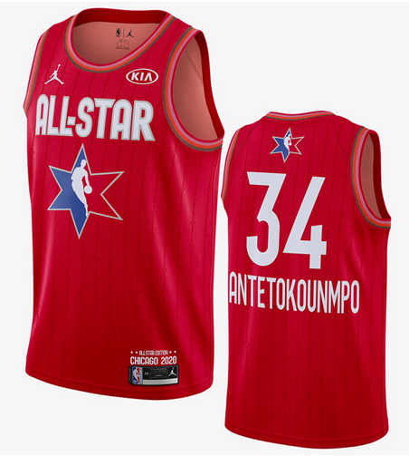 Men's Milwaukee Bucks #34 Giannis Antetokounmpo Red Jordan Brand 2020 All-Star Game Swingman Stitched NBA Jersey