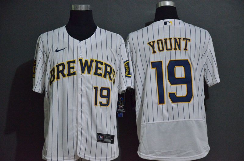 Men's Milwaukee Brewers #19 Robin Yount White Stitched MLB Flex Base Nike Jersey