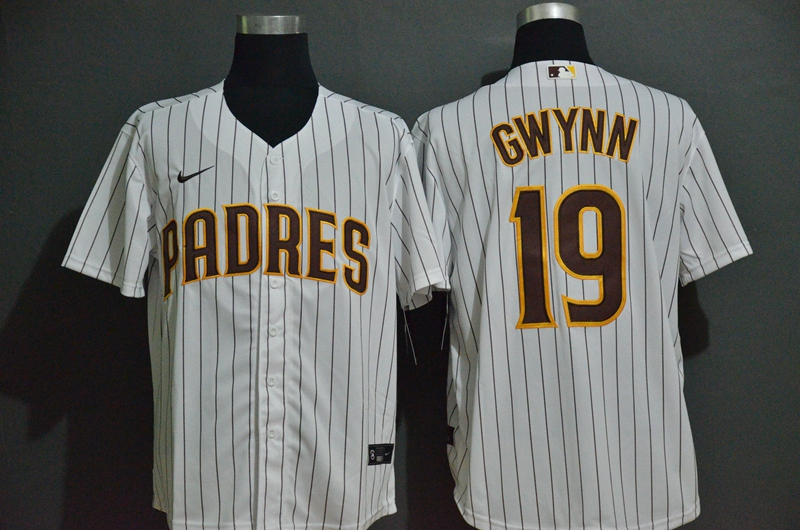 Men's San Diego Padres #19 Tony Gwynn White Stitched MLB Cool Base Nike Jersey