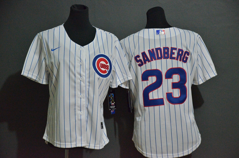 Women's Chicago Cubs #23 Ryne Sandberg White Stitched MLB Cool Base Nike Jersey