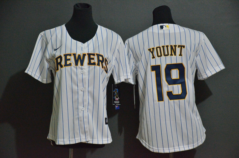 Women's Milwaukee Brewers #19 Robin Yount White Stitched MLB Cool Base Nike Jersey