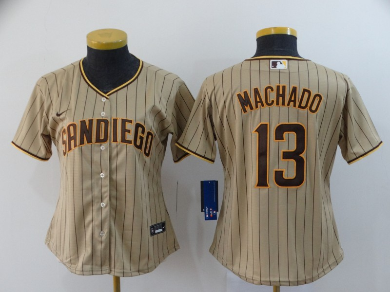 Women's San Diego Padres #13 Manny Machado Gray Stitched MLB Cool Base Nike Jersey