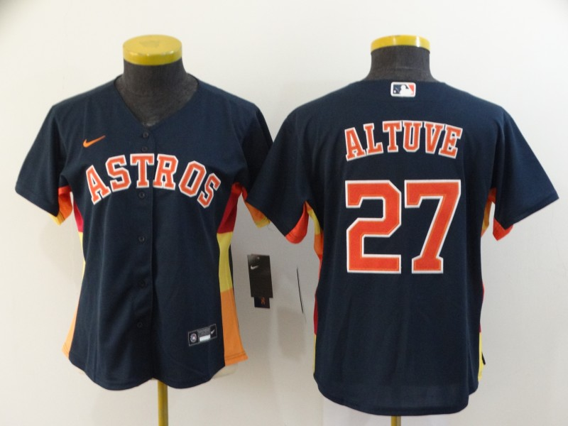Women's Houston Astros #27 Jose Altuve Navy Blue Stitched MLB Cool Base Nike Jersey