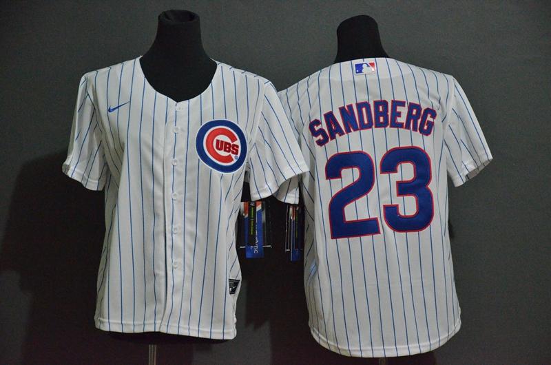 Youth Chicago Cubs #23 Ryne Sandberg White Stitched MLB Cool Base Nike Jersey