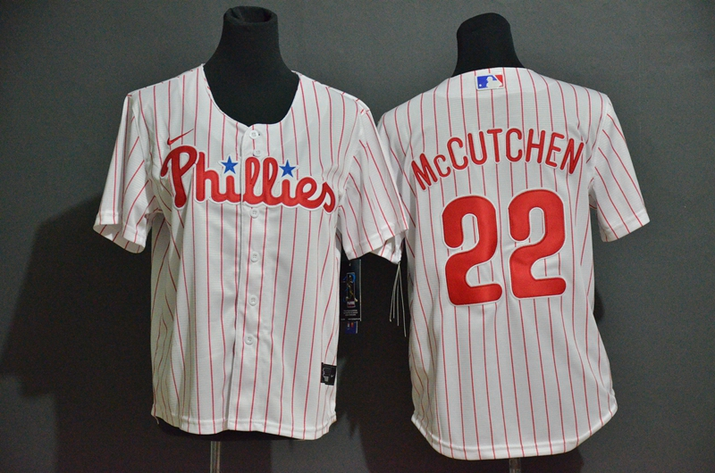 Youth Philadelphia Phillies #17 Andrew McCutchen White Stitched MLB Cool Base Nike Jersey