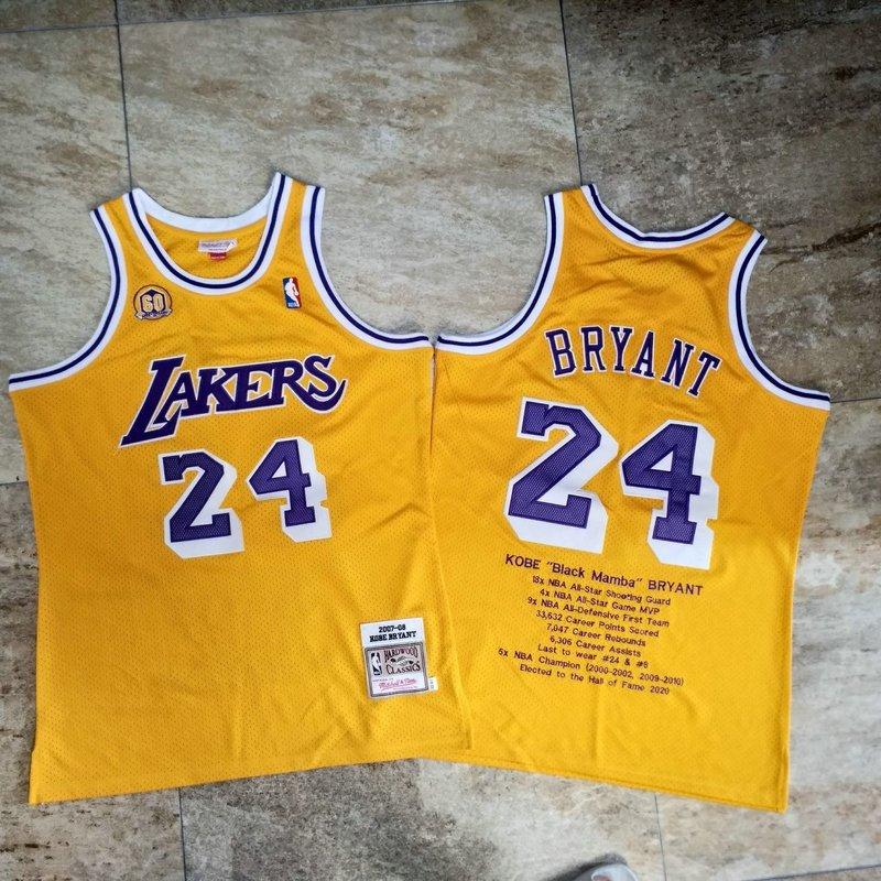 Men's Los Angeles Lakers #24 Kobe Bryant 2007-08 Yellow honors ...