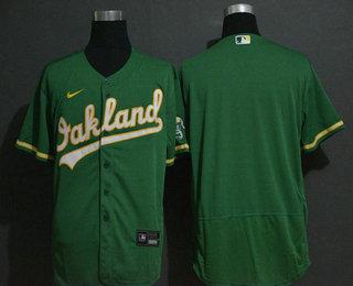 Men's Oakland Athletics Blank Green Stitched Stitched MLB Flex Base Nike Jersey